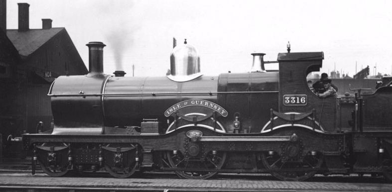 GWR Duke 3316 'Isle of Guernsey', at Westbourne Park shed c 1900