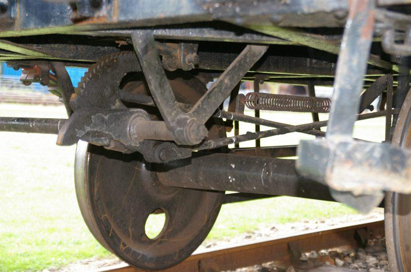 Photo: Detail of brake gear on preserved ballast wagon at Didcot ©Jim Champ