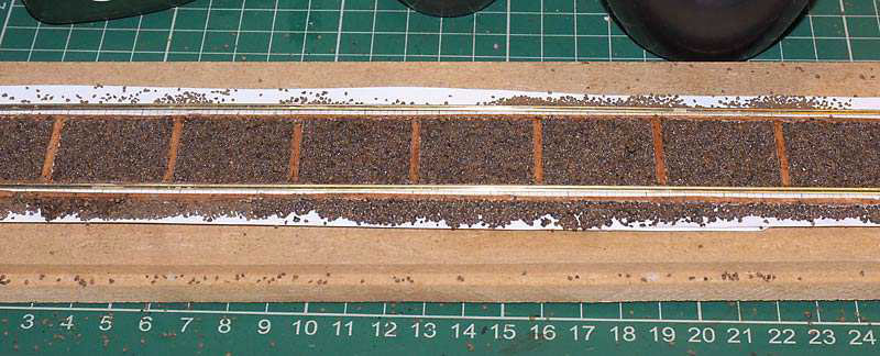 4mm scale broad gauge track using BGS bridge rail laid on wooden baulks