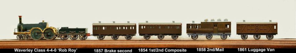 Model of the complete GWR broad gauge mail train described in the Bullo Pill accident report