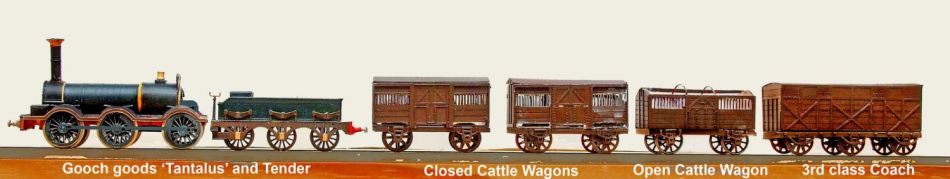 Models of goods vehicles from the GWR broad gauge Bullo Pill accident report