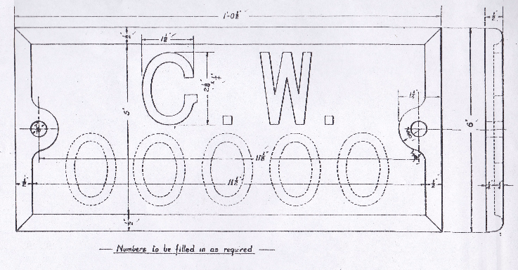 GWR cast wagon solebar identification plate