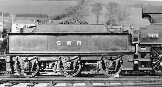 GWR 4-4-0 County 3478 tender at Plymouth Laira