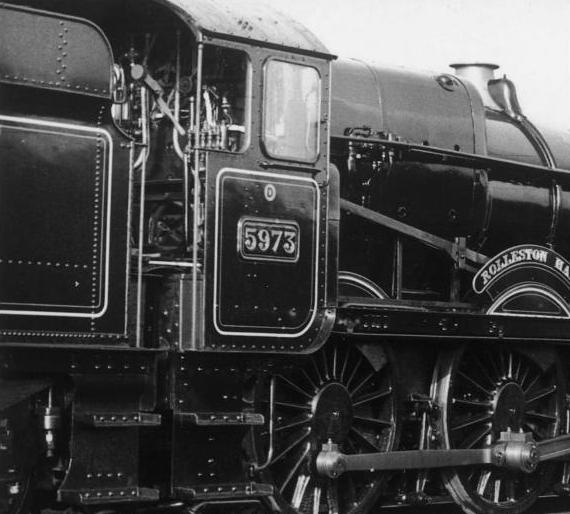 5973 Rolleston Hall, ex-works, in BR(W) mixed-traffic lined black livery