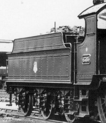 Lined upper fender on Churchward 3500g tender, 1956