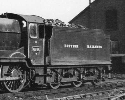 Tender of Modified Hall 6986 'Rydal Hall' at Tyseley in 1948