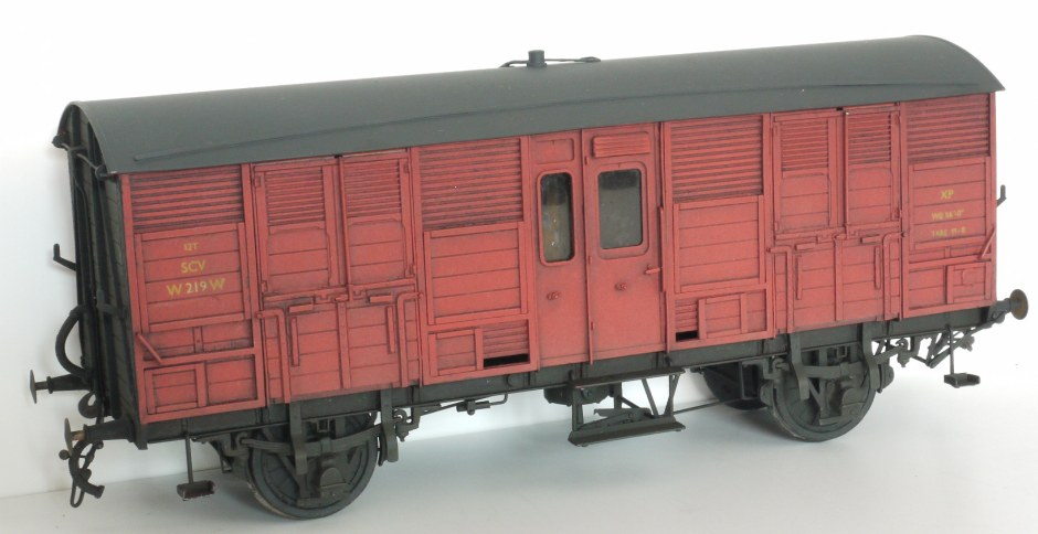 WEP Models diagram W7 special cattle wagon, BR faded crimson livery