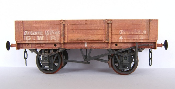 GWR 4-plank open wagon in faded red livery condition