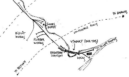 Brentford Main Sidings, Station and Dock (1947 map)