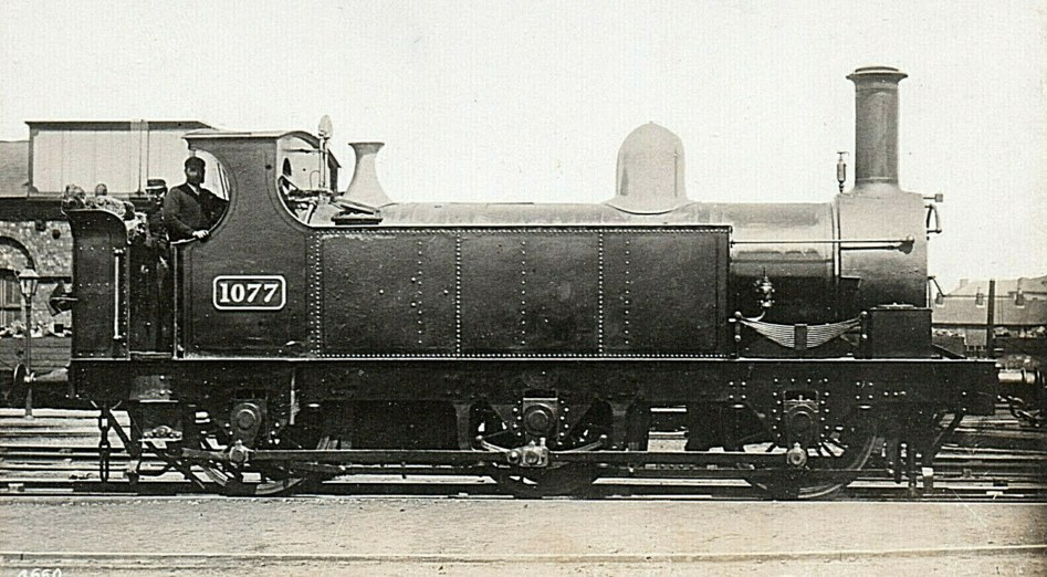 GWR 1077 in original condition with side tanks