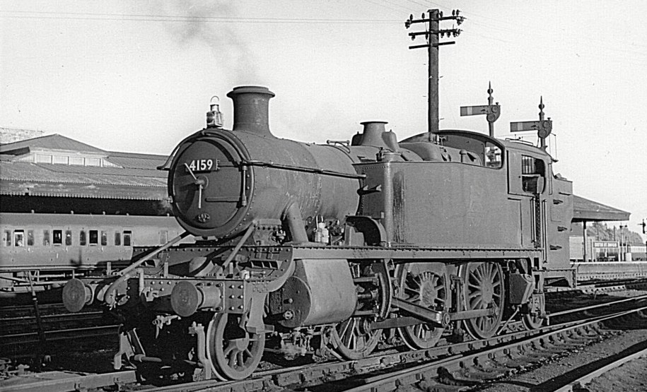 Prairie 4159 at Exeter, 25 August 1956