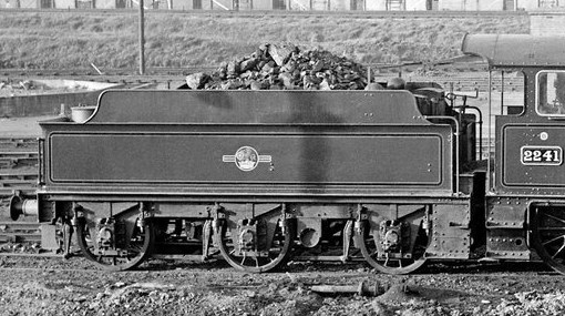 GWR flush-riveted 3500g tender behind Collett Goods loco 2241, late BR(W) lined green livery