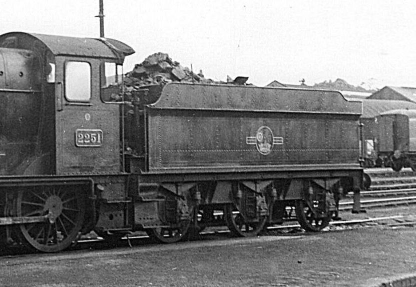 Collett 3000g tender between GWR 2251 at Oswestry