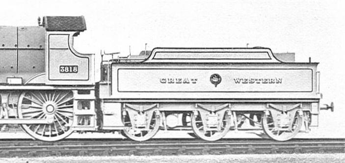 Early Churchward 3500g tender behind GWR County 4-4-0 3818