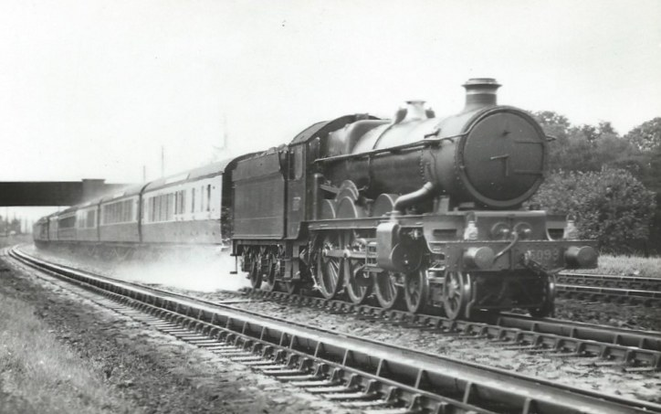 Castle 5093 at Goring troughs in 1949