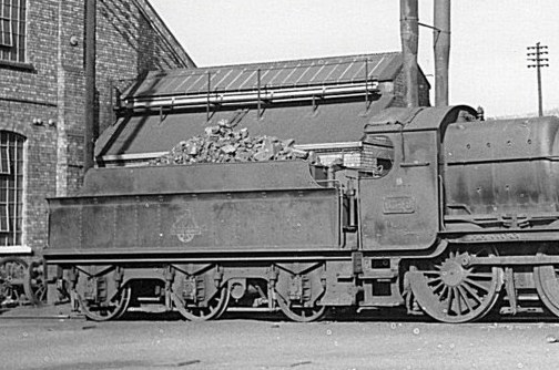 3500g tender behind Mogul 6349 at Stourbridge Junction shed