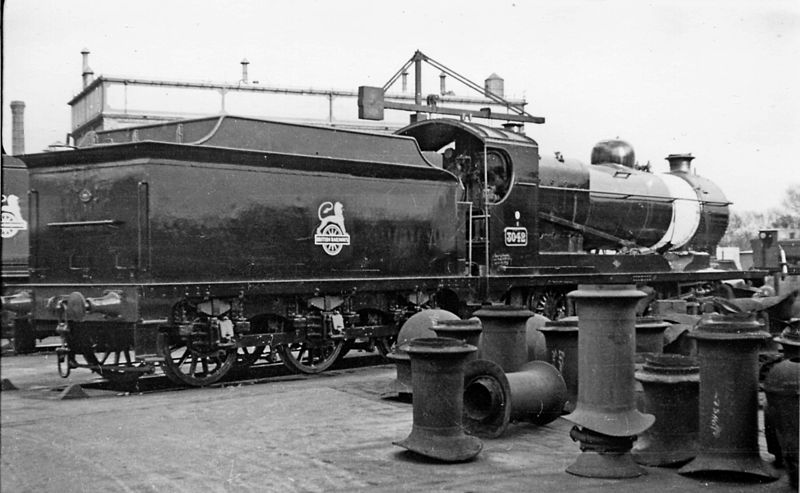 ROD tender behind loco 3042, Swindon, 22 February 1953