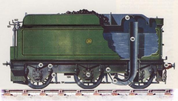 arrangement of water scoop on GWR 4000g tender
